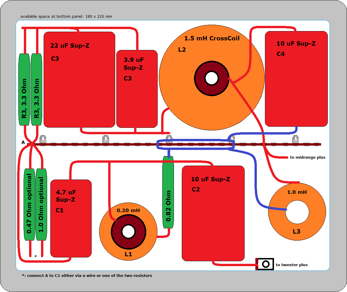 Bw 802 Upgrade Bi Wiring Speakers Diagram Above Crossover Board For Midrange And Tweeter I Have Added Two Optional Resistors Attenuation 047 Ohm Or 10 If You Dont Want To Use