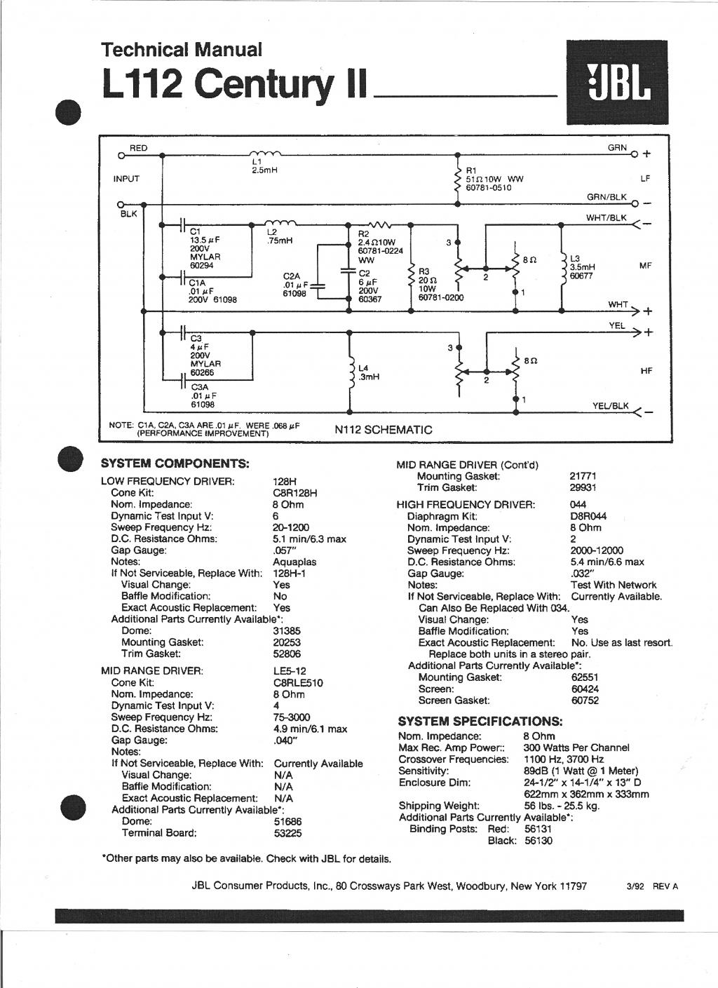 Jbl Crossover Wiring Diagram Pictures Bi Speakers L112 Amplifier